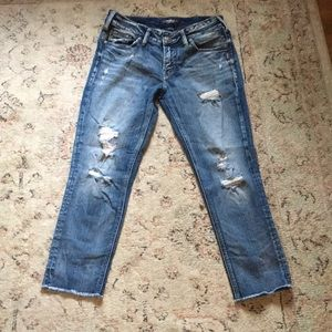 Silver Jeans Elyse Distressed Slim Crop Jean